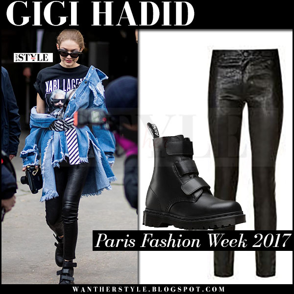 Gigi Hadid in black print t-shirt, black leather pants and black boots dr martens what she wore paris fashion week 2017