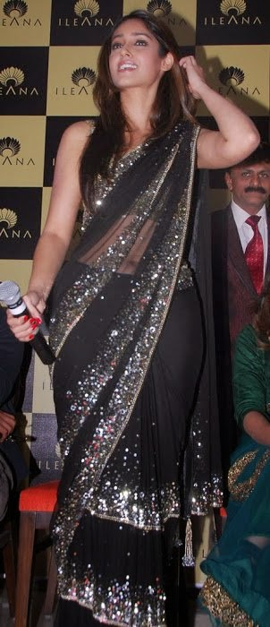 ileana navel show in black transparent saree pics