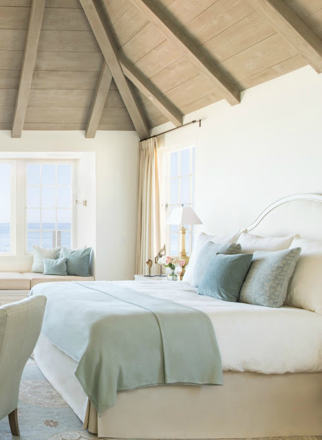 Tranquil beachy style bedroom with aqua and pastels - found on Hello Lovely Studio