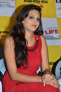 Actress Swetha Jadhav Pictures in Red Dress at London Life Movie Press Meet  0020