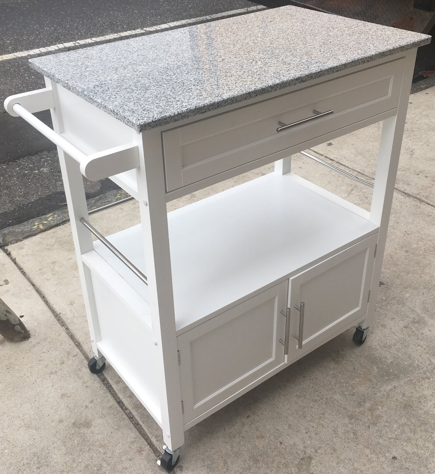 White Kitchen Cart With Faux Marble Top   SOLD