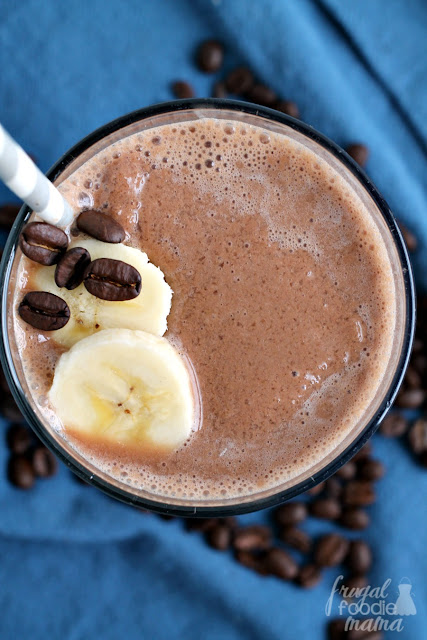 This creamy Banana Mocha Smoothie with a caffeine kick makes the perfect grab & go breakfast or afternoon pick-me-up.