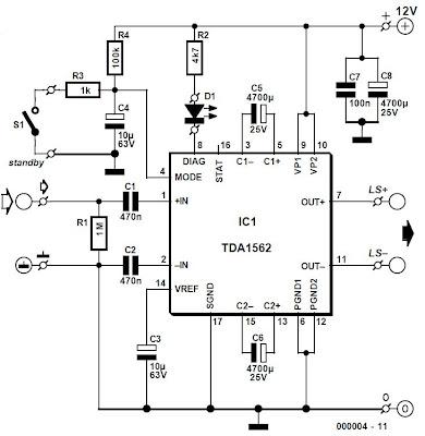 world technical: circuit amplifier 54 W Using TDA1562Q
