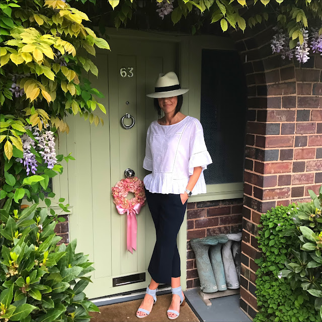 My Midlife Fashion, marks and spencer pure cotton ladder trim flared shell top, marks and spencer handwoven panama hat, marks and spencer kick flare cropped trousers, marks and spencer suede block heel stud sandals