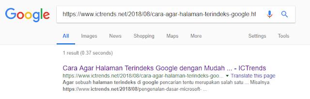 mengecek halaman url artikel kita sudah terindeks google