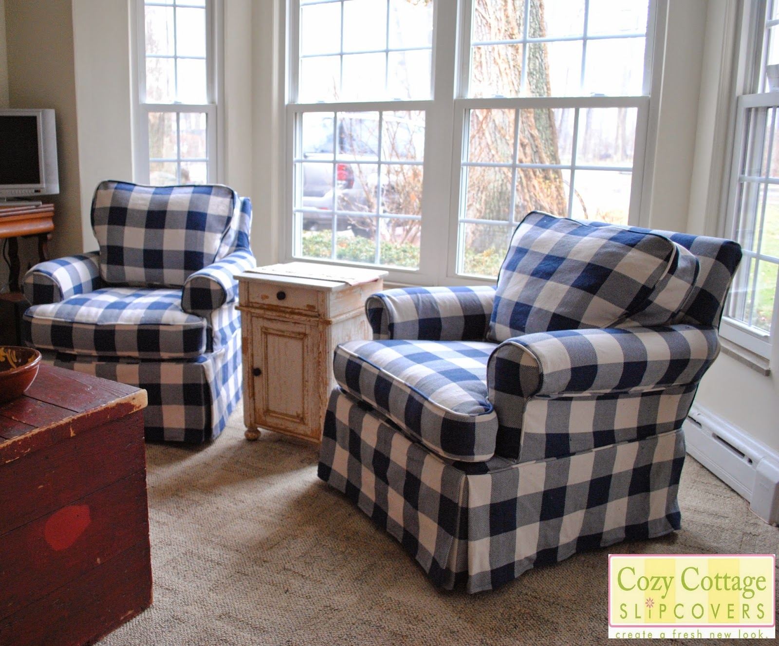 Buffalo Plaid Chair Bouncy Chairs For Baby Cozy Cottage Slipcovers Blue And White Check