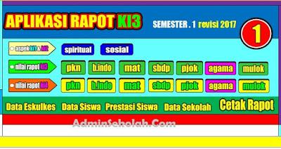 Download Aplikasi Raport Kelas 1 SD/MI Kurikulum 2013 adminsekolah.com