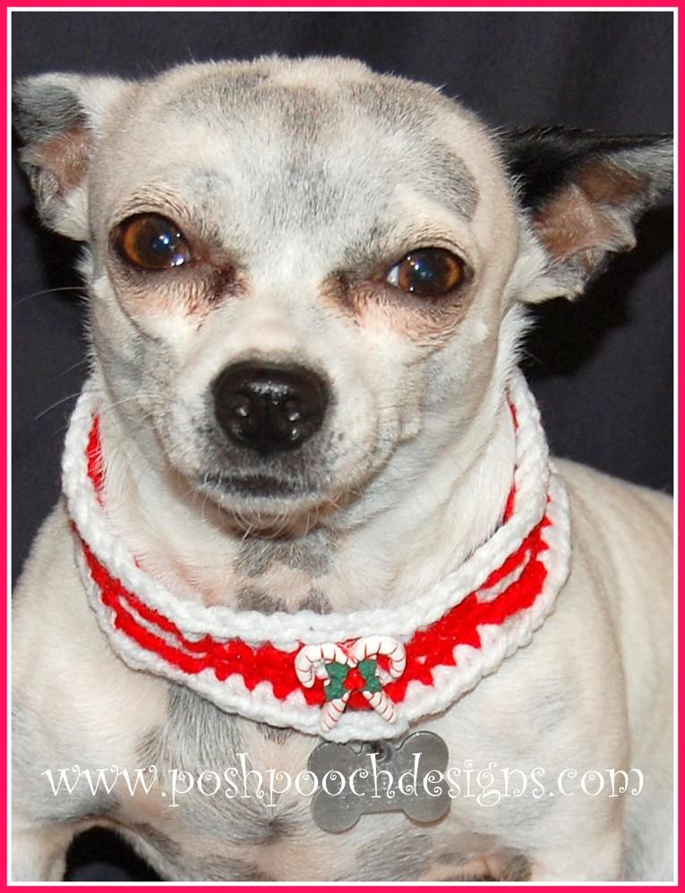 Posh Pooch Designs Dog Clothes Candy Cane Collar Free Crochet