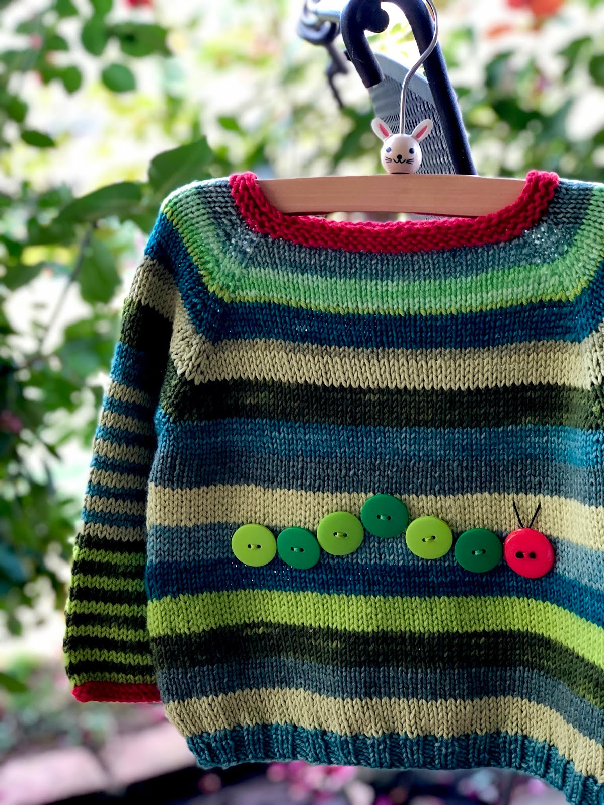 The Very Hungry Caterpillar sweater - Knitionary