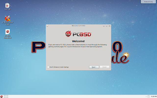 PC-BSD first time welcome message