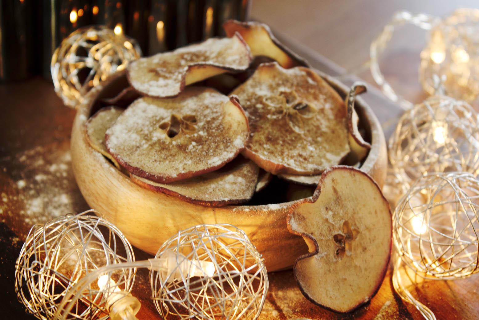 fatias de maçã no forno