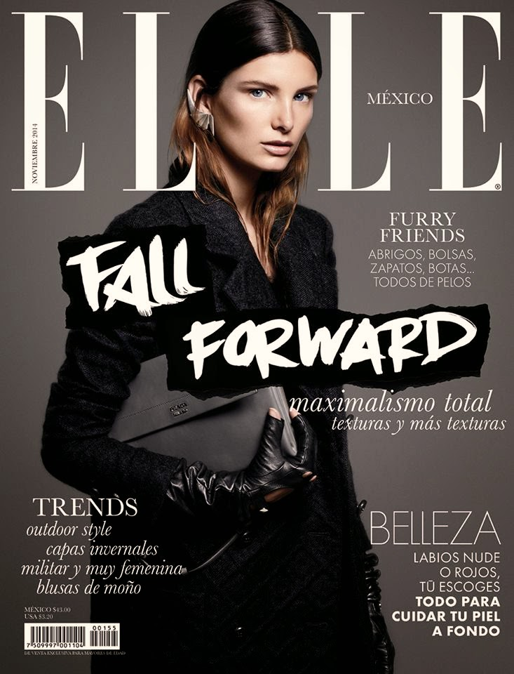 Ava Smith flaunts an all black Fall look for Elle Mexico's November 2014 cover