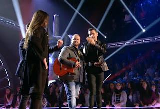 Rafa Blas, David Barrul y Antonio José. Final La Voz 2016