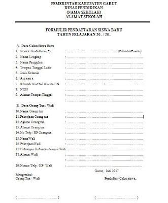 formulir pendaftaran siswa baru yang benar dan berlaku untuk setiap tahun pelajaran baru
