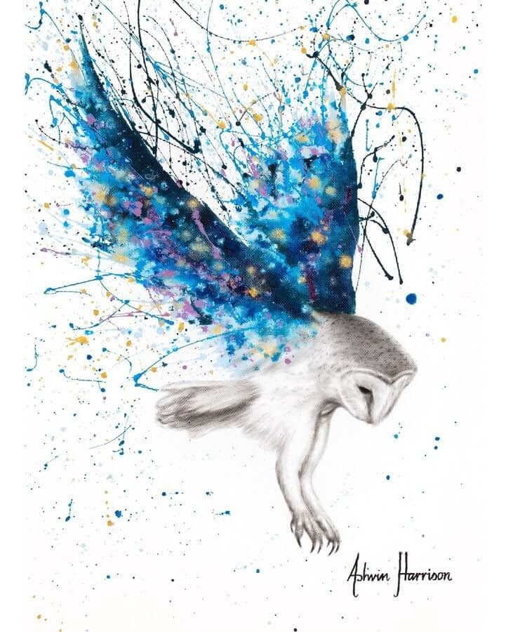 06-Purple-and-Blue-Owl-Ashvin-Harrison-Acrylic-Paintings-www-designstack-co