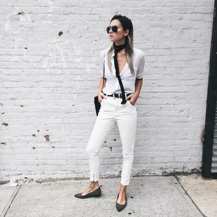 Danielle We Wore What - White Button Down, Neck Scarf