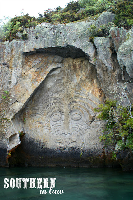 The Maori Rock Carvings at Mine Bay, Lake Taupo - Ernest Kemp Cruises Review New Zealand