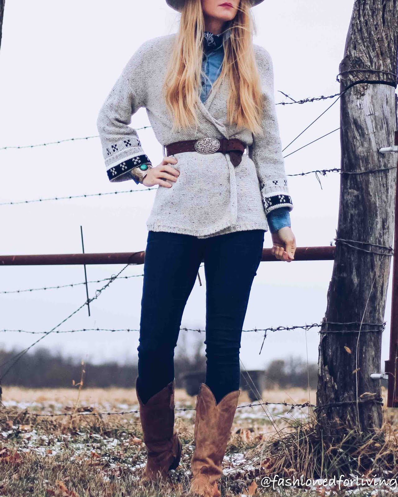 winter cowboy boots outfit with sweaters
