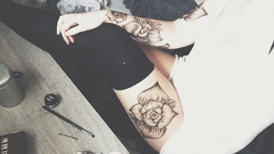 Beautiful Floral Thigh & Forearm Tattoos