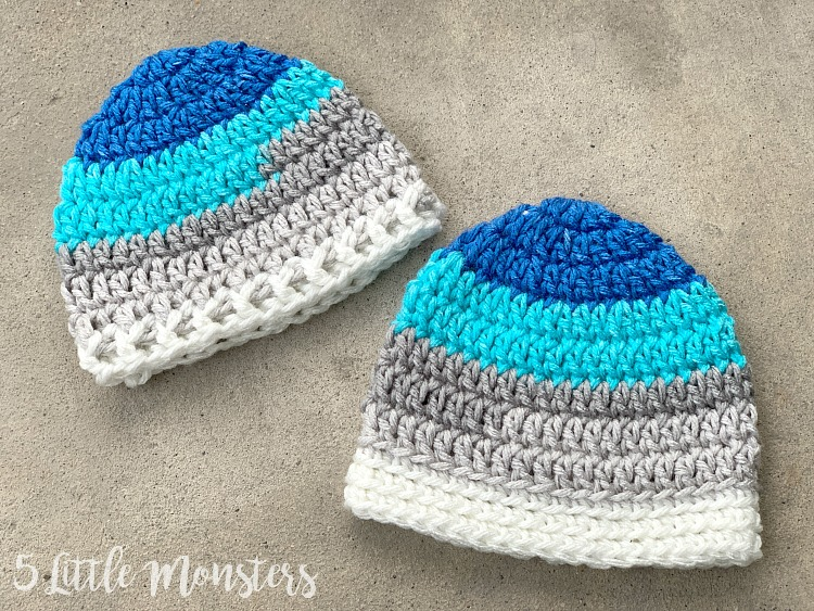 5 Little Monsters Basic Newborn Hat With 2 Band Options