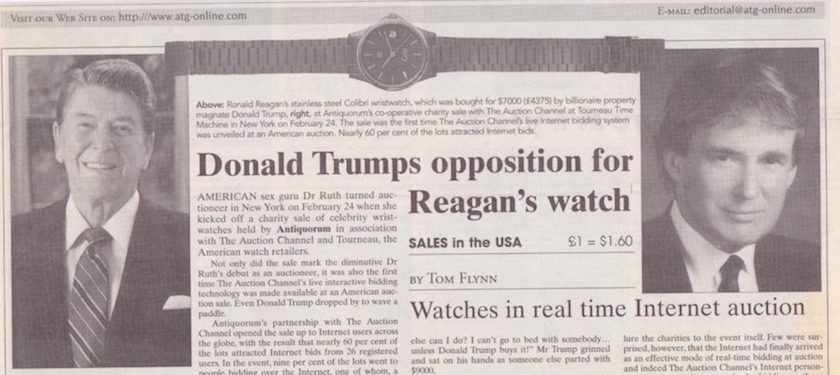 Newspaper clipping the Tourneau and Antiquorum Famous Faces watch auction in 1999. Donald Trump buys Ronald Reagan's watch for $7000