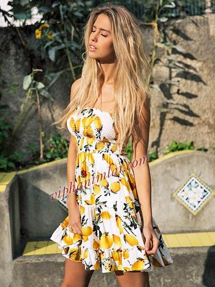 Limon baskılı straplez elbise - www.viphanimlar.com