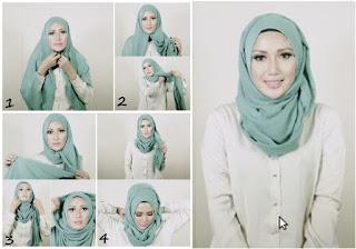 Foto Cara Memakai Hijab Pashmina Muka Bulat