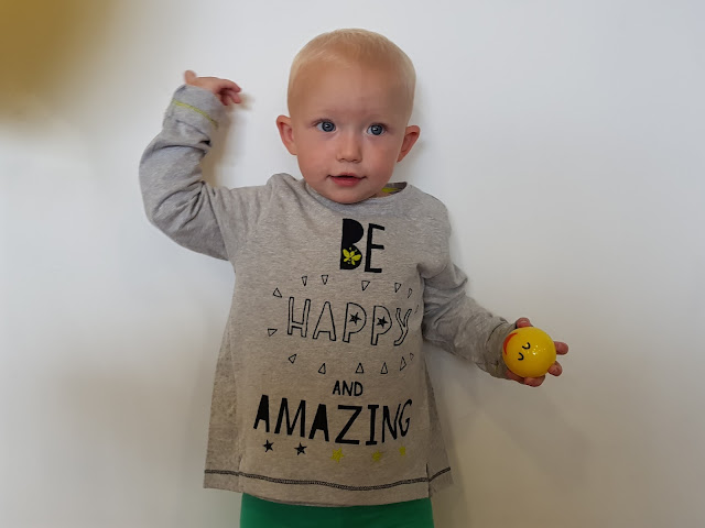 "Little in a long sleeve tee from the Fearne collection with the slogan ""Be happy and Amazing"""