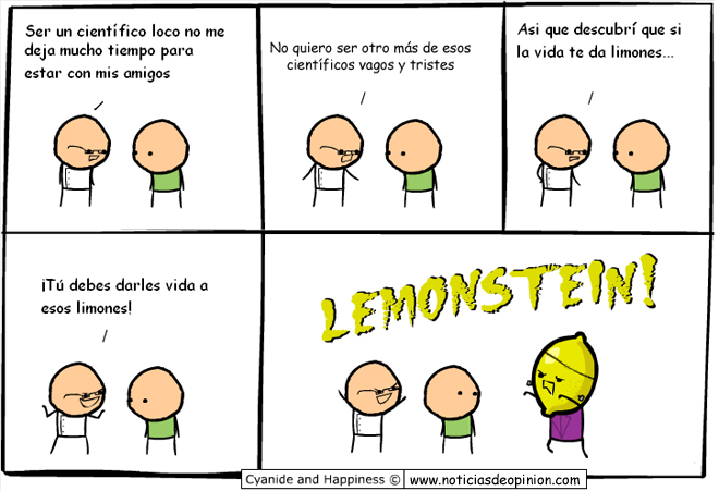 Viñeta Cyanide and happiness en español: 'Si la vida te da limones...'