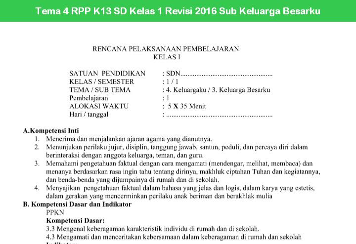 Tema 4 RPP K13 SD Kelas 1 Revisi 2016 Sub Keluarga Besarku