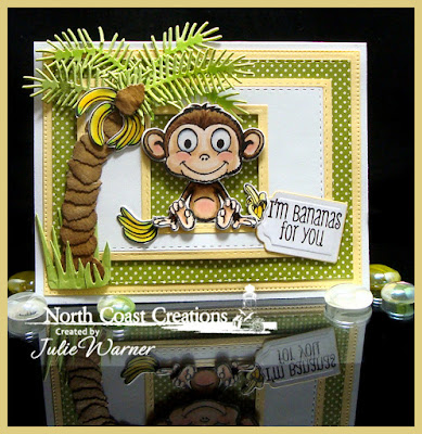 North Coast Creations Stamp Set: Thanks a Bunch, North Coast Creations Custom Dies:Monkey & Bananas, Our Daily Bread Designs Custom Dies:Double Stitched Squares, Squares, Flourished Star Pattern, Double Stitched Rectangles, Lovely Leaves, Fancy Foliage, Tag Trio, Grass Border
