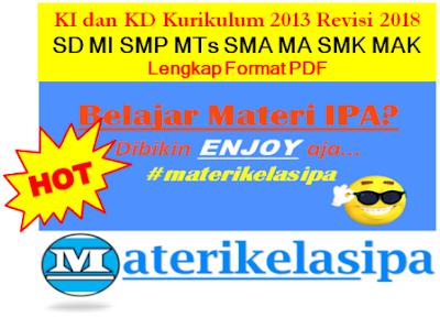 KI dan KD Kurikulum 2013 Revisi 2018 SD MI SMP MTs SMA MA SMK MAK Lengkap PDF