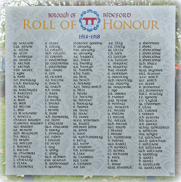 Borough of Bideford Roll of Honour 1914-1918. Photo copyright Pat Adams