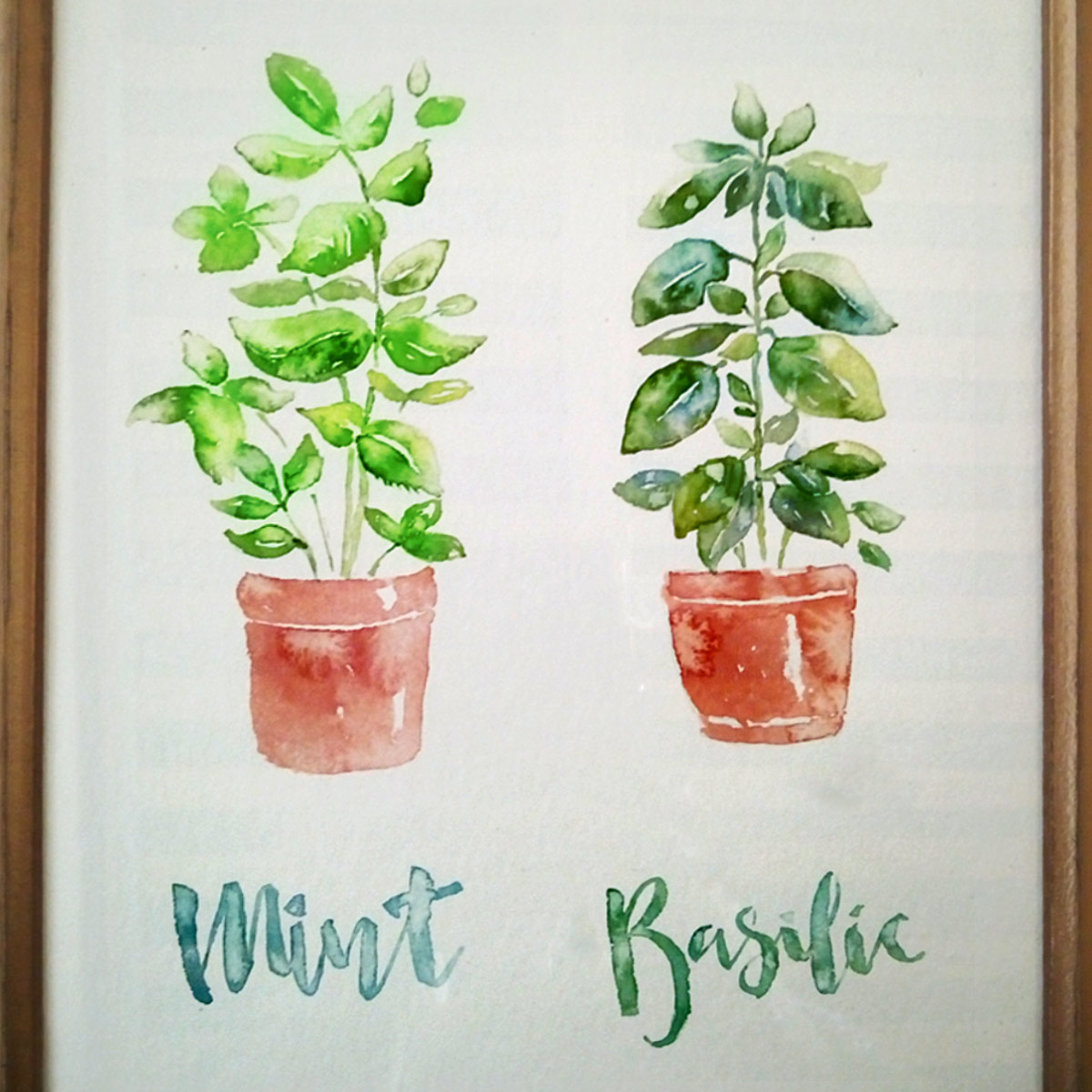 Mint basilic Watercolor image
