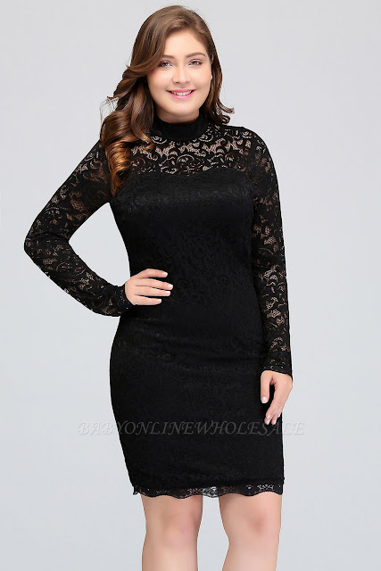 Mermaid Crew Short Long Sleeves Lace Black Plus size homecoming Dresses