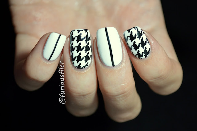 houndstooth simple black and white stripes nails