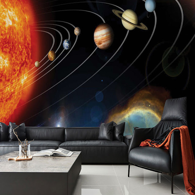 Space Wall Mural Planets Sun Photo Wallpaper 3D Solar System Part 91