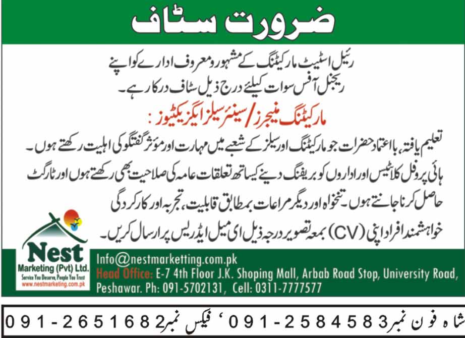 sales and marketing staff in peshawar