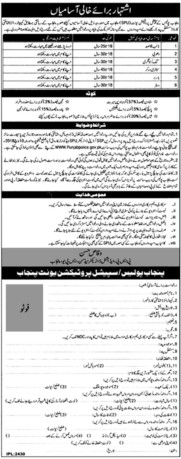 Jobs In Punjab Police Special Protection Unit SPU Lahore 2018 for 6 Vacancies