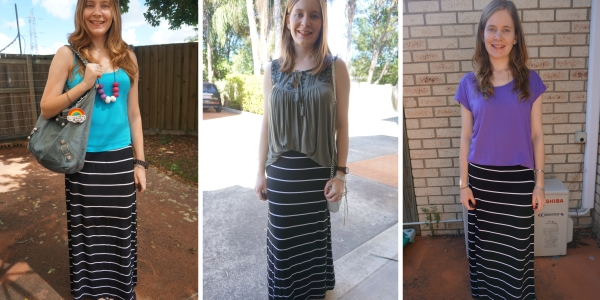 3 ways to wear striped maxi skirt | away from the blue blog