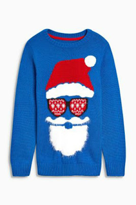 blue with Santa wearing red fairisle sun glasses