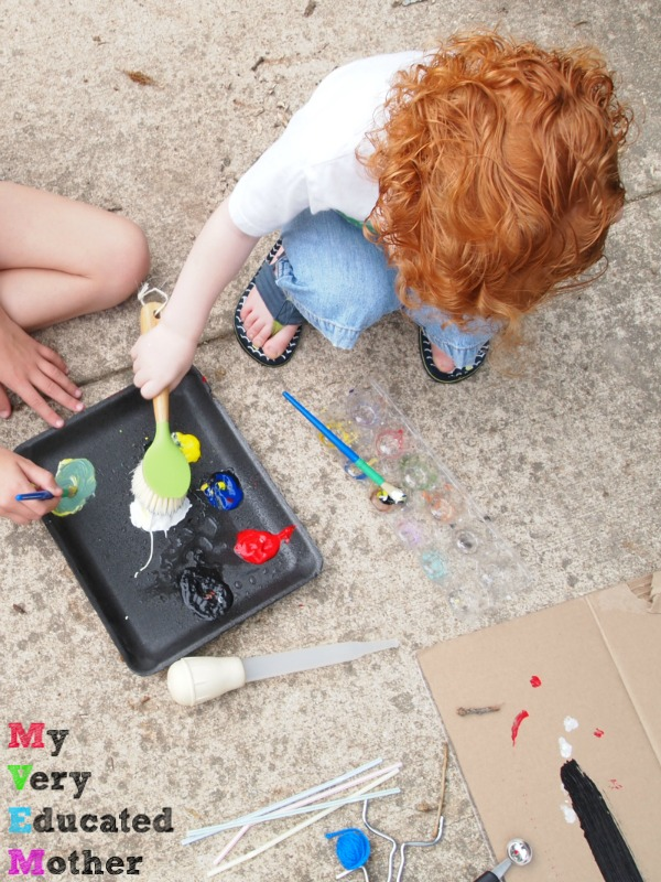Use household utensils to let the kids explore their creative side!