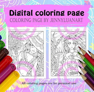 Anime Mermaid Halloween coloring page by JennyLuanArt