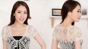 Bolero crochet con delicado diseño
