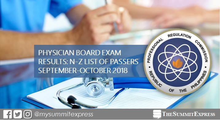 LIST OF PASSERS: N-Z September-October 2018 Physician, Medicine board exam results