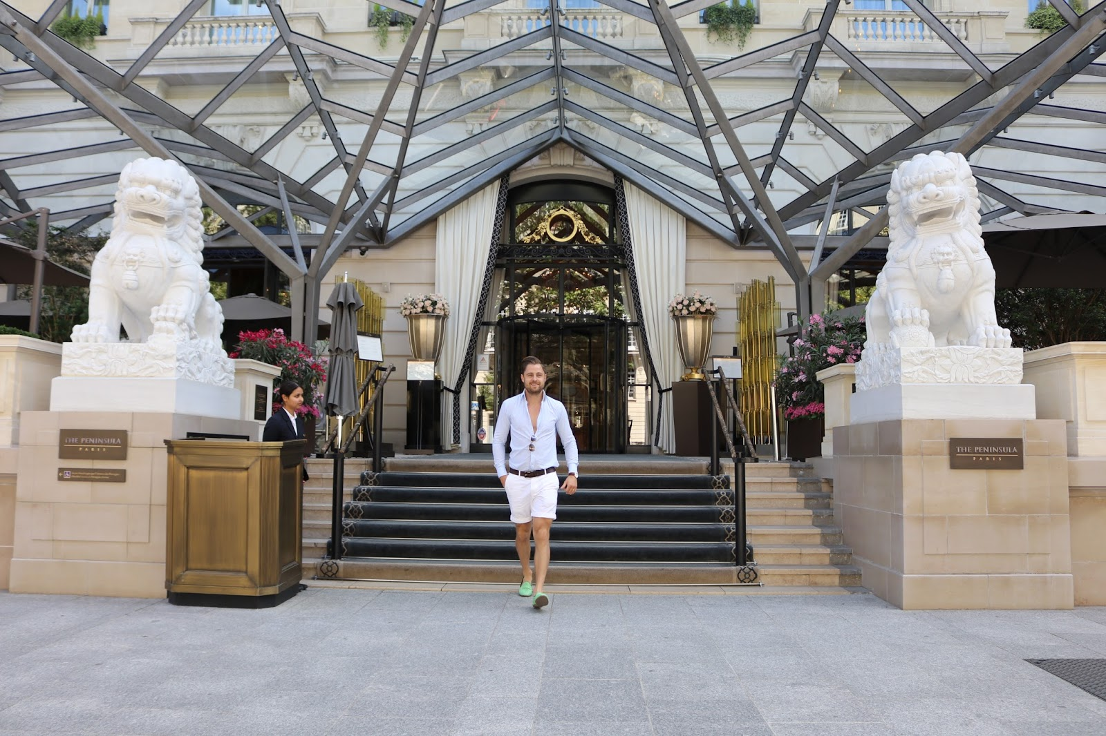 Ben Heath, Twenty First Century Gent outside The Peninsula Paris