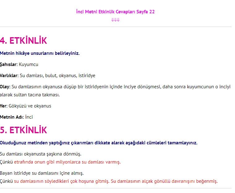 3. Sınıf Türkçe Çalışma Kitabı Cevapları Dikey Yayınları Sayfa 22