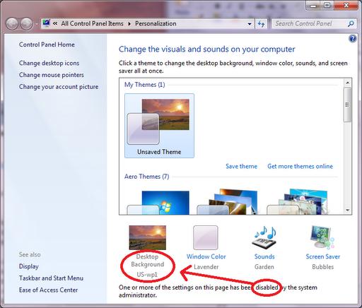 unchangeable desktop