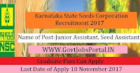 Karnataka State Seeds Corporation Recruitment 2017– 43 Junior Assistant, Seed Assistant