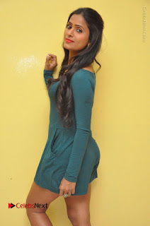 Telugu Actress Prasanthi Stills in Green Short Dress at Swachh Hyderabad Cricket Press Meet  0053.JPG